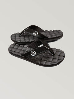 Big Boys Recliner Sandals In Black White, Front View
