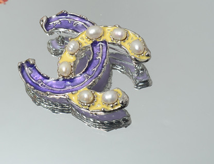 Purple & yellow   brooch - ebrook lael