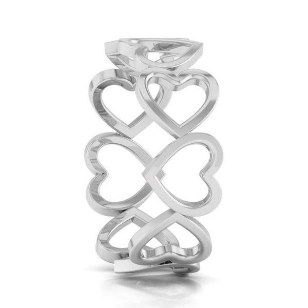 Side View of Eternity of Hearts Plain Platinum Ring JL PT 551 for Women