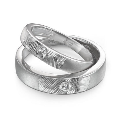 Curve Textured Platinum Couple Bands with Single Diamonds JL PT 425 in India