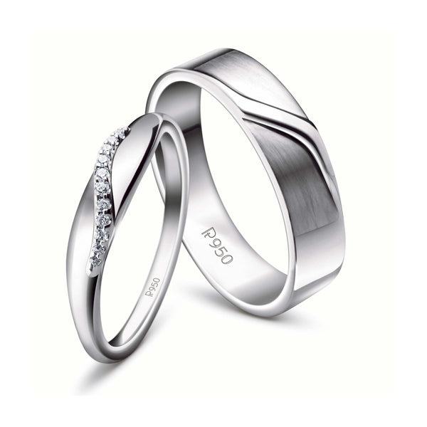 Elegant Platinum Couple Rings JL PT 453 in India