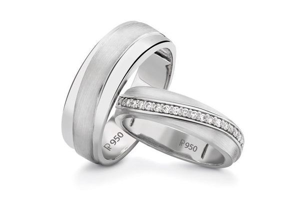 Designer Platinum Love Bands with Diamonds SJ PTO 235 in India