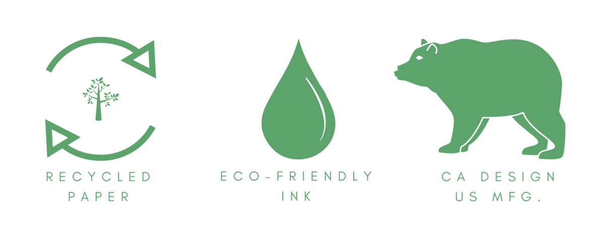 Green logos for car air freshener features, recycled paper, eco-friendly inks.