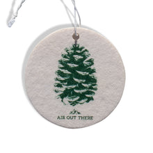 Pine cone, car air freshener, Air Out There, white, green. Recycled paper and eco-friendly ink.