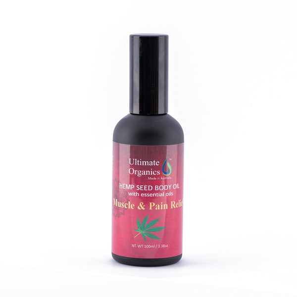 MUSCLE & PAIN RELIEF - Organic Hemp Seed Body Oil w Essential Oils