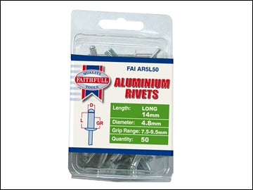 Aluminium Rivets - 5mm x 14mm Long (Pack 50)