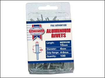 Aluminium Rivets - 4mm x 10mm Long (Pack of 100)