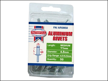 Aluminium Rivets - 5mm x 11mm (Pack 50)