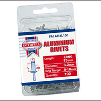Aluminium Rivet - 3mm x 13mm Long (Pack of 100)