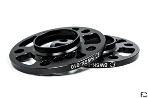 Future Classic BMW black anodized aluminum wheel spacer pair showcasing machine work and impeccable finishing