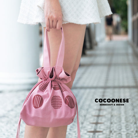 Drawstring Top Handle Handbag  - Circlemesh Collection (Cheery🍒)