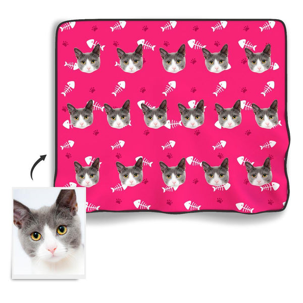 Cat paw Personalized Fleece Photo Blanket - Pink - MyFaceBoxer