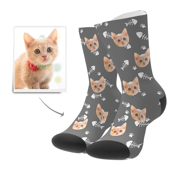 Custom Cat Socks - MyFaceBoxer