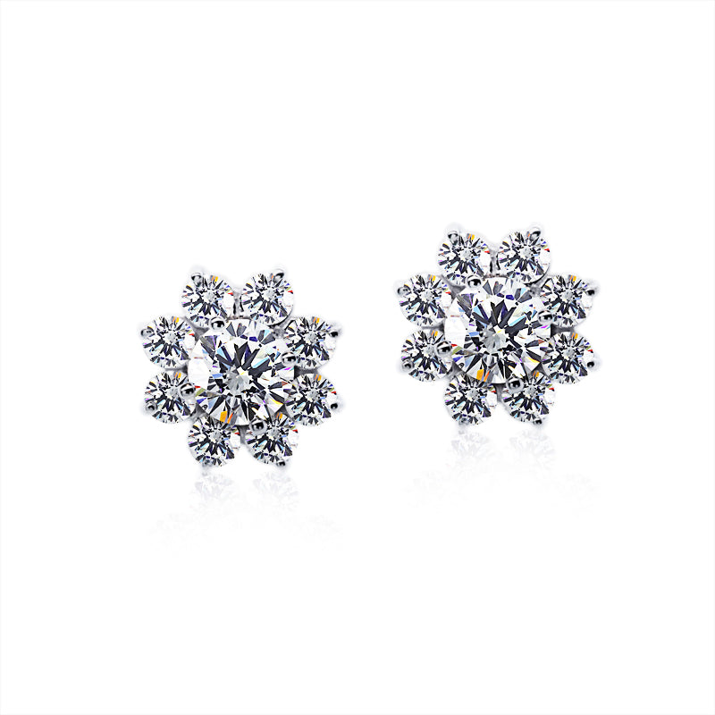 9K White Gold Stud Earrings | Round Flower Clusters