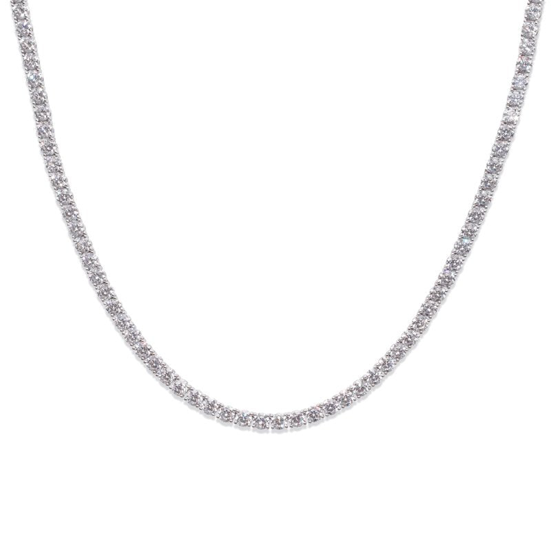 Round Share Prong Line Necklace