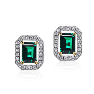 Emerald Border set Studs in Green