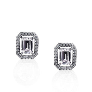 Emerald Cut Border Set Studs
