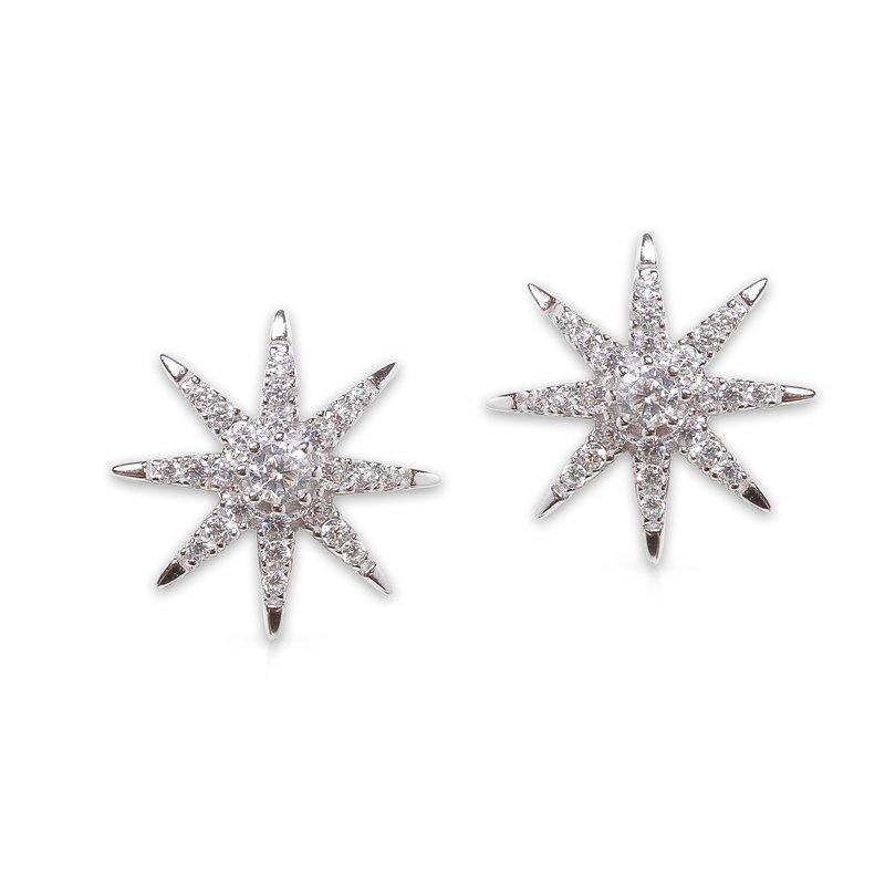 Sterling Silver Stud Earrings - Stella Collection star stud earrings