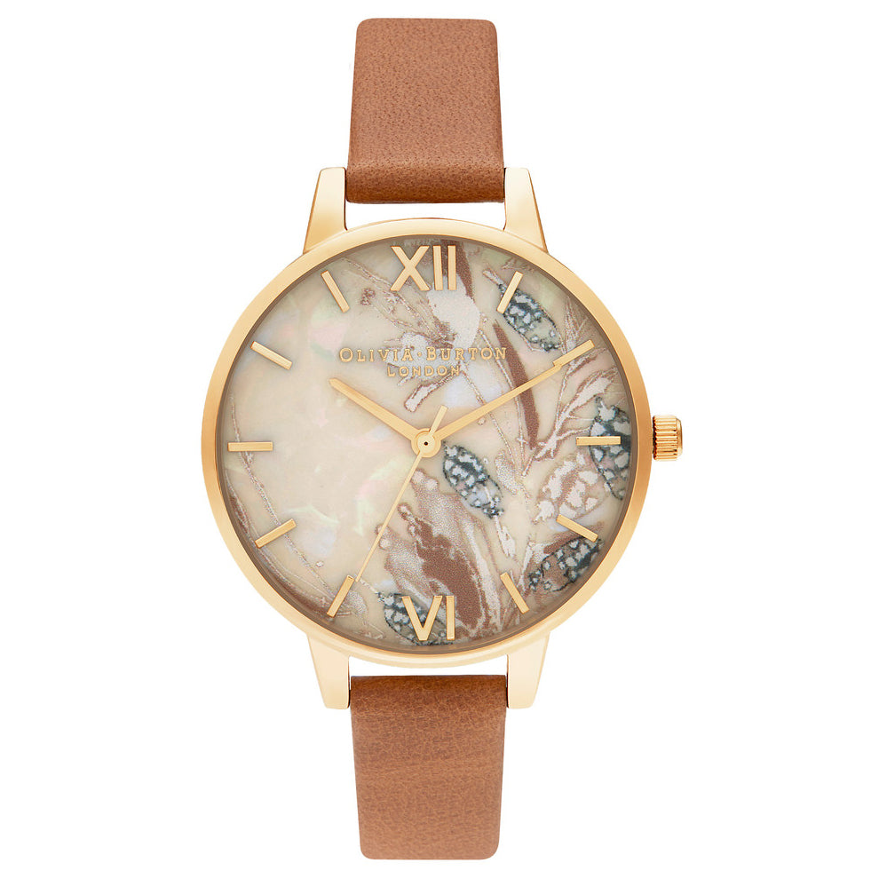 Olivia Burton Abstract Florals Honey Tan & Gold OB16VM39