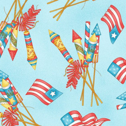 Back Porch Celebration Collection by Meg Hawkey - Vintage Fireworks Blue - Yardage