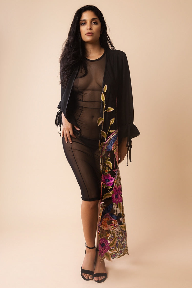 Asymmetric Bird Embroidery Kimono | Yes Master | Anya Lust Boutique