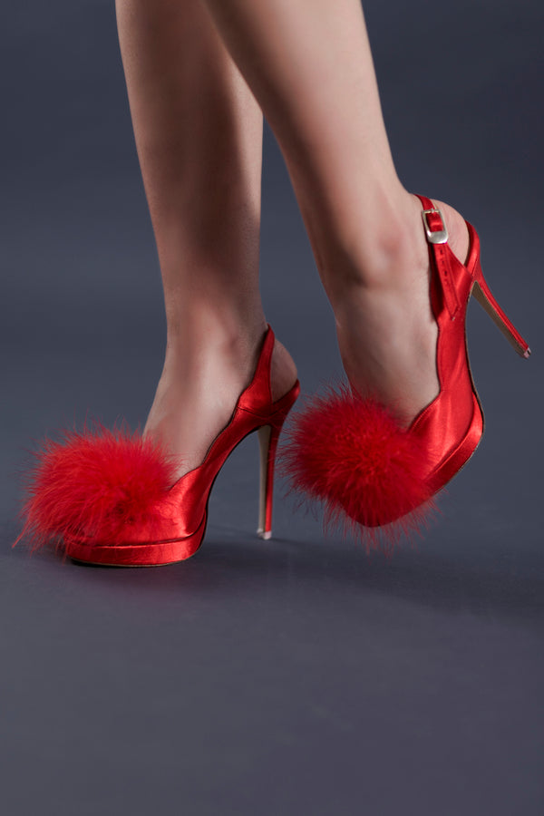 Emma Red Slingback Heels | Women's Designer Shoes | Anya Lust