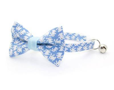 Cat Collar & Bow Tie Set  - Hoppy Hour/ Blue - Easter Bunny