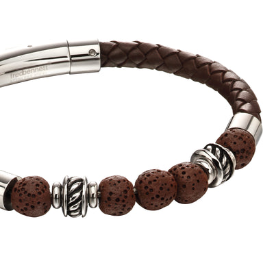 Fred Bennett Brown leather & lava Bracelet