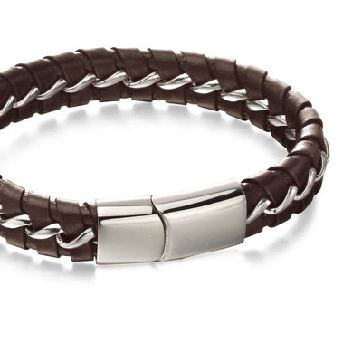 Fred Bennett stainless steel & brown leather woven bracelet