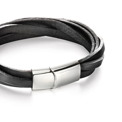 Fred Bennett Stainless steel & black leather bracelet