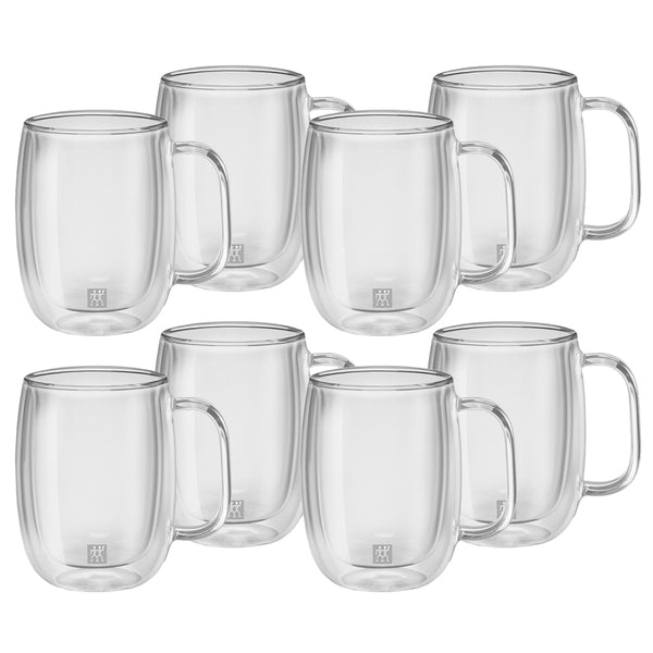 Zwilling Sorrento Plus Double Wall Glass Coffee Mug with Handle 12 oz., Set of 8