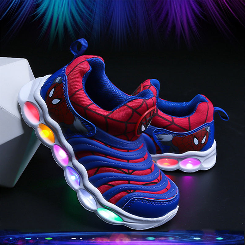 Spider-Man Iron Man American Captain LED Colorful Induction Lights Illuminated Shoes for kids