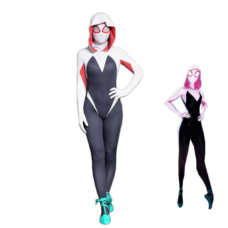 Family Matching Outfit:New Spider-Man Gwen Stacy Cosplay Onesies for Mon and Girls