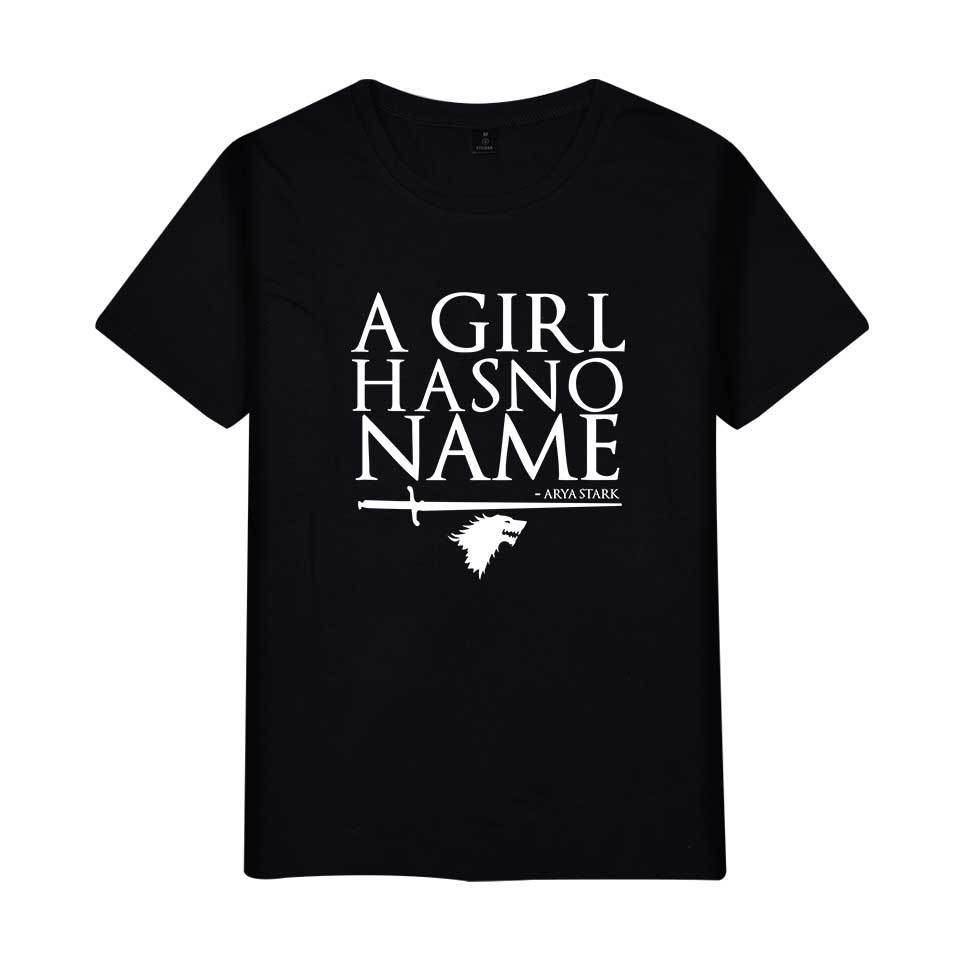 Game of Thrones Letter A Girl Has No Name Printed T-shirt