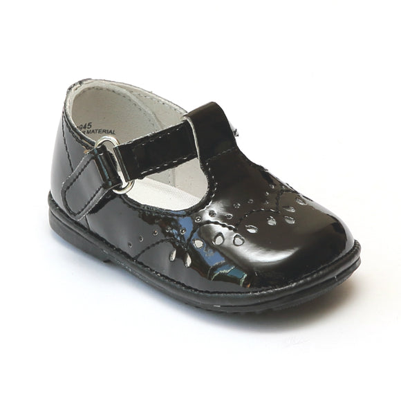 Angel Infant Girls 2945 Patent Black Leather T-Strap Mary Janes - Babychelle.com