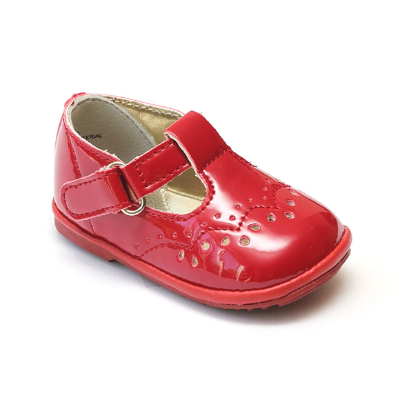 Angel Infant Girls 2945 Patent Red T-Strap Mary Janes - Babychelle.com