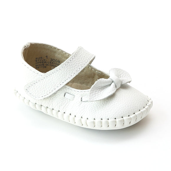 L'Amour Infant Girls 3008 White Leather Bow Stitched Mary Janes - Babychelle.com