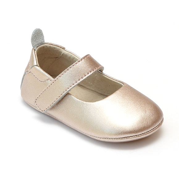 L'Amour Infant Girls Metallic Copper Leather Crib Mary Janes - Babychelle.com