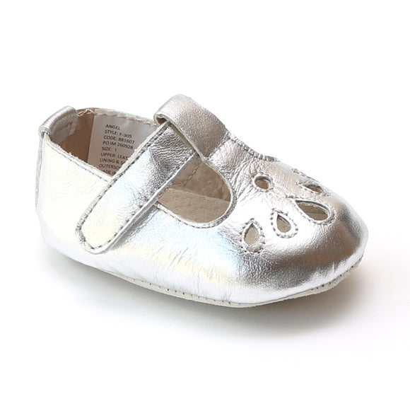 Angel Baby Infant Girls Silver Teardrop T-Strap Crib Mary Jane - Babychelle.com