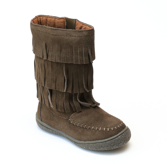 L'Amour Girls Brown Suede Leather Fringe Boots - Babychelle.com