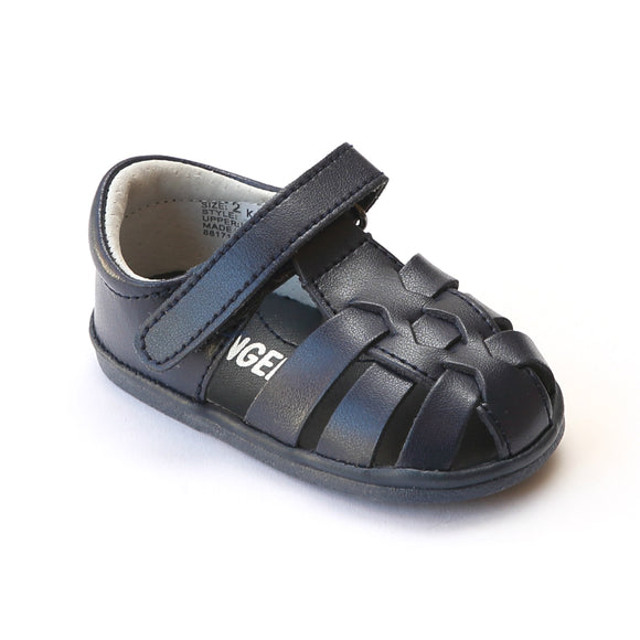Angel Baby Boys Navy Leather Fisherman Sandals - Babychelle.com