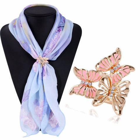 Tricyclic black Three Butterfly Scarf