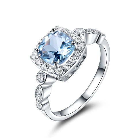 Real S925 Sterling Silver Blue