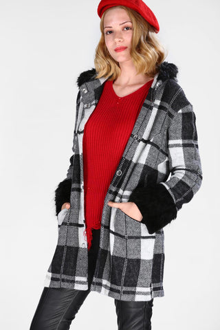 Women's Furry Patterned Jacket