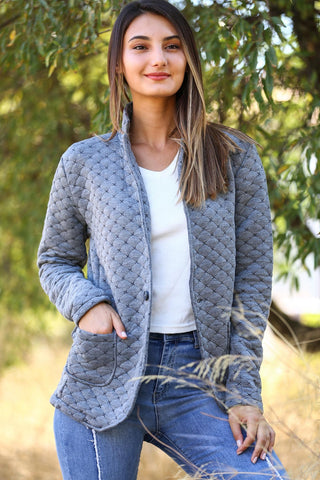 Shawl Collar Patterned Jacket