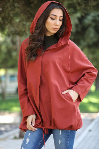 Hooded Tile Red Jacket