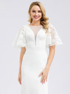 Ever-Pretty Women's See-through Floral Lace Bodycon Wedding Dresses EP00810