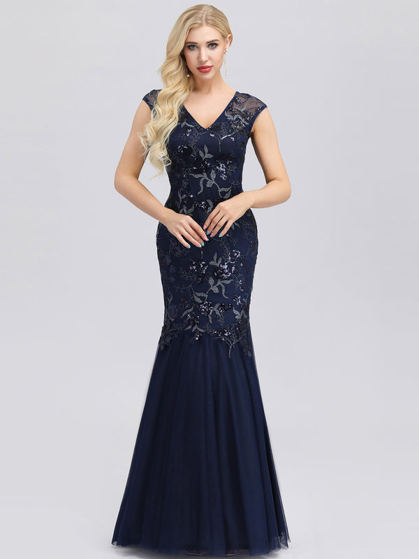 Ever-Pretty Classic Sequin Print Fishtail Evening Dresses for Women EP00923
