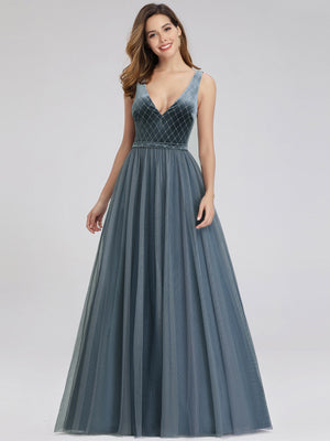 Ever-Pretty Dusty Navy Velvet& Mesh Prom Dresses for Women EP00999