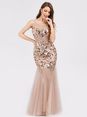 Ever-Pretty Sweetheart Illusion Sequin Dress Mermaid Bodycon Party Dresses EP07922